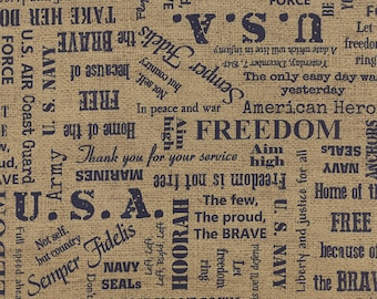 BECAUSE of the BRAVE 3 yds Navy natural Lettering word patriotic USA Moda quilt fabric American Soldier 3 full yards 32950-14