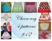 Crochet pattern, Sewing pattern, Skirt pattern, Easy sewing pattern, Baby pattern, Twirly skirt pattern  - 4 patterns of your choice