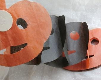Vintage Halloween Garland, Art Tissue Jack o Lantern Accordion Fold Black and Orange
