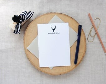 Deer Silhouette Personalized Stationery | Set of 10 Personalized Flat Note Cards | Masculine Stationery | Gift for Him