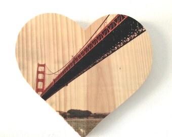 "Sailor's View: Golden Gate Bridge - 9x8"" Heart Distressed Photo Transfer on Wood"