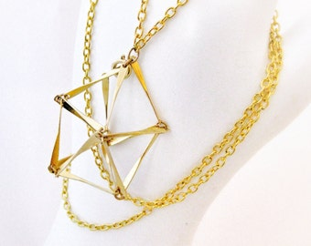 Gold Geometric Pentagon Cage Necklace Abstract Prism Triangle Bar Pendant Bead Cage Trinket Holder Stones Sea Glass Handmade Jewelry Canada