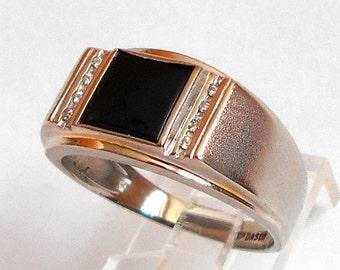 Dason Mens 10K White Gold Diamond & Onyx Ring Size 11.5