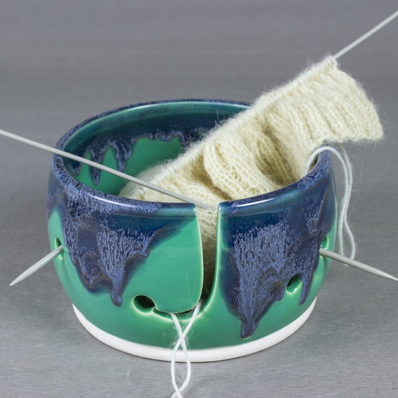 Beautiful Knitting Yarn Bowl, mermaid tail mint green blue eggplant purple THREE EXTRA HOLES Yarn holder multiple yarn balls BlueRoomPottery