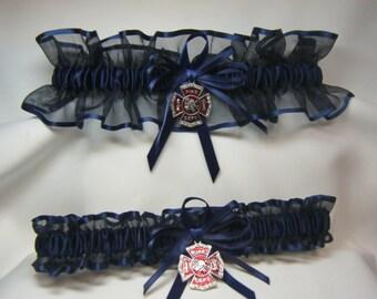 FIREFIGHTER Wedding garters Navy Blue Garter set fireman garter