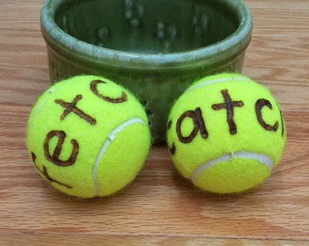 Fetch, Catch, Throw Me, or Mine tennis balls for dogs
