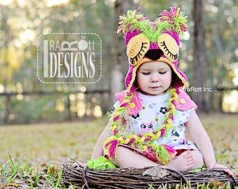 PATTERN Pink Berry Owl Hat Crochet PDF Pattern
