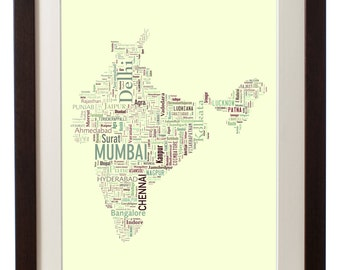 """India Framed Type Map Art Print - 16"""" x 20"""" // Additional Sizes Available"""