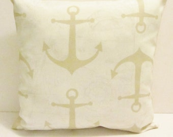 Sand anchor pillow cover, accent pillow, throw pillow, indoor/outdoor fabric, 18 x 18 inch, in 3 colors,  FREE SHIPPING Canada and US