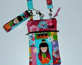 Black Japanese Dolls Bright Colorful Floral Phone Case Wristlet or Olive Green Purple iPhone 5 6 Plus 6S  Shoulder Strap
