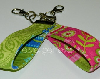 Ready to Ship Hot Pink and Lime Green Key Fob Wristlet Optional Personalized or Periwinkle Blue Secret Santa Gift