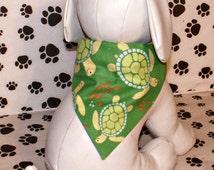 Green Sea Turtles Handmade Dog Bandana Summer, Beach, Nautical