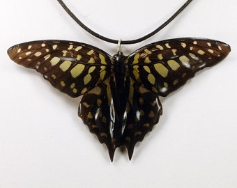 Real Butterfly Necklace - Green Spotted Triangle - Hand Cast Resin