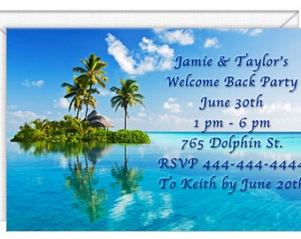 Island Getaway Invitations -- personalized -- with envelopes.  Wedding invitations-party invitations.  Standard Postage.  (FJ3605)