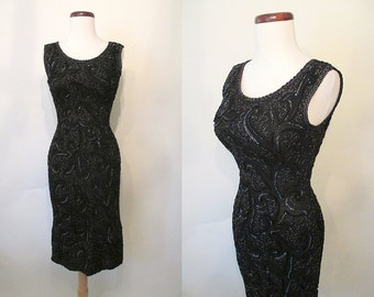 CLEARANCE Shimmering 1950's Curve Hugging Sequined Cocktail  Dress with Silver Lurex Rockabilly VLV Pinup Hourglass Vixen Curvy Size-Small