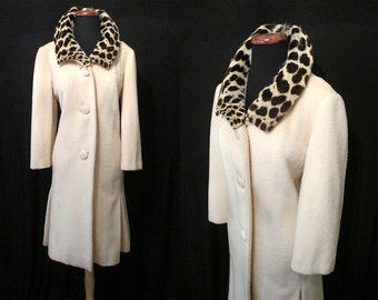 Lush 1960's Cashmere and Wool Cream Coat with Leopard Print Collar Rockabilly VLV Pinup Size-Medium