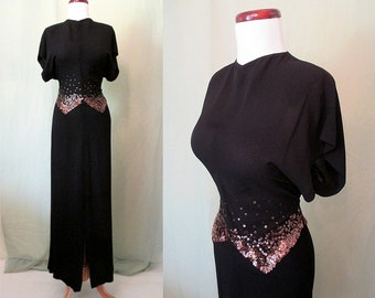 Glamorous 1940's Old Hollywood Crepe Evening Gown Party Dress with Gold Sequins  Movie Star Size-Medium