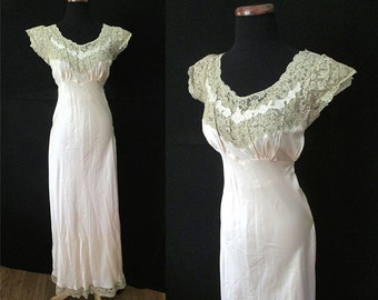 "Exquisite 1930's Silk Satin Designer Bias Cut Gown w/ Hand Made Lace Trim by ""Heavenly Silk Lingerie"" Old Hollywood Boudoir Size-Medium"