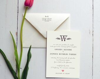 Wedding Invitation - Rustic Monogram - JPress Designs - letterpress, casual, heart, outdoor, farm, barn, save the date, wedding suite