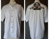 Mens MOSCHINO White Short Sleeve Dress Shirt with Red Heart Buttons Valentines Day