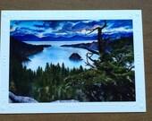 Christie Marie Elder, Lake Tahoe, Emerald Bay, art print card, blank Art Greeting Cards, Note Card / envelope, art print Framable art card