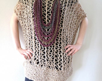 Oversized Tunic Oatmeal Wheat Light Beige Natural Color Lacy Knitted Acrylic Yarn Dropped Shoulders Short Sleeves Sweater