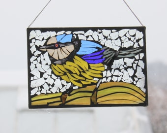 Mosaic Blue Bird   Stained Glass SunCatcher or wall Decoration