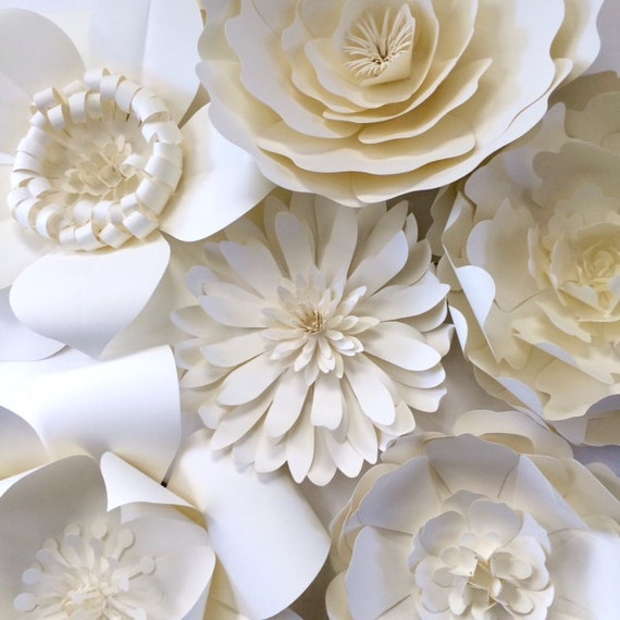 Paper flower wall decor large paper flower backdrop by for Flower decoration made of paper