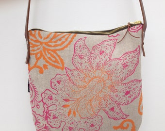 Block print Linen Day Bag crossbody messenger bag with leather handles in Keiko Orchid  hand printed by Papa Totoro