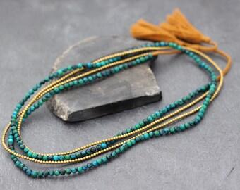 Malachite Stone Tassel Long Necklace Wrap Bracelet