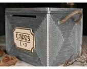 Wedding card box,wedding card holder, MEDIUM Rustic Great Gatsby Silver, card box for wedding - vintage unique teasury Keepsake