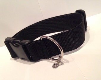 "LARGE 1 1/2"" Little black dog collar"