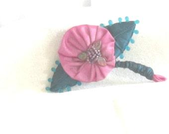 Handmade Flower Brooch - Handmade Silk Brooch - Hand Beaded Pin - Silk Taffeta Pin - Raspberry Ice 3