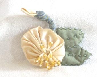 Yellow Silk Flower Pin - Handmade Flower Brooch - Handmade Silk Brooch with Hand Beading