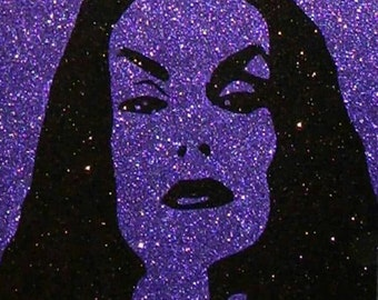 Vampira Inspired Retro Horror Art (CLEARANCE) • Dark Art • Glitter Art • Goth Decor