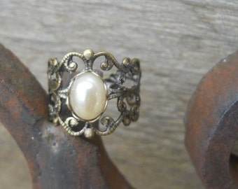 Adjustable Brass Filigree with Faux Pearl Ring