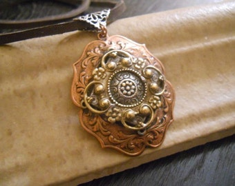 Ornate Mixed Metal Bohemian Pendant on Leather