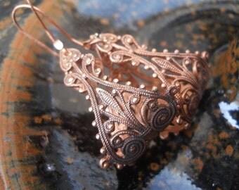 Copper Filigree Hoops