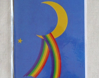 1980s Crescent Moon Rainbow Greeting Card, Unused, Pictura Graphica, Sweden, Blank, Envelope