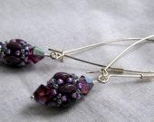 Superduo Beaded Bead with Swarovski Crystals Earrings - Purple Amethyst