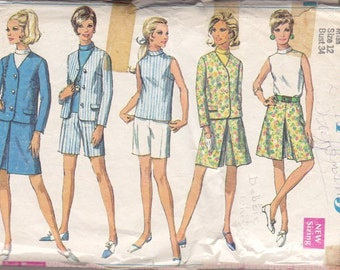 Miss Jacket Skirt Pantskirt Shorts  Blouse Pattern ~ Simplicity Pattern No 7541 Size 12 ~ Skirt & Pant Skirt Inverted Pleats ~ Cut