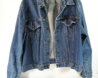 levis denim jacket blue jean men's large L vintage retro 1950's 1960's usa