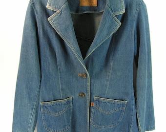 levis denim blazer skinny jacket blue jean women's 7 8 tapered fit vintage retro 1970's usa