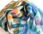 Multicolored hand painted silk scarf with bold batik lines. One-of-the-kind seagreen, steelblue, orange colorful scarf painted with cold wax