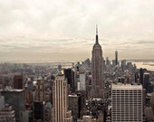 Manhattan Skyline at Dusk, New York City Print, Beige, Empire State Building, Large Wall Decor, Office Decor, Men