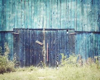 Blue Barn Photograph, Rustic Barn Home Decor, Old Barn Print, Rustic Blue Barn, Rustic Barn Landscape, Barn Print, Farmhouse Decor 8x10