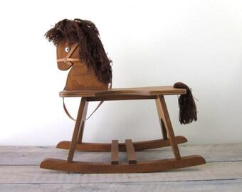 Vintage Wood Rocking Horse Decoration