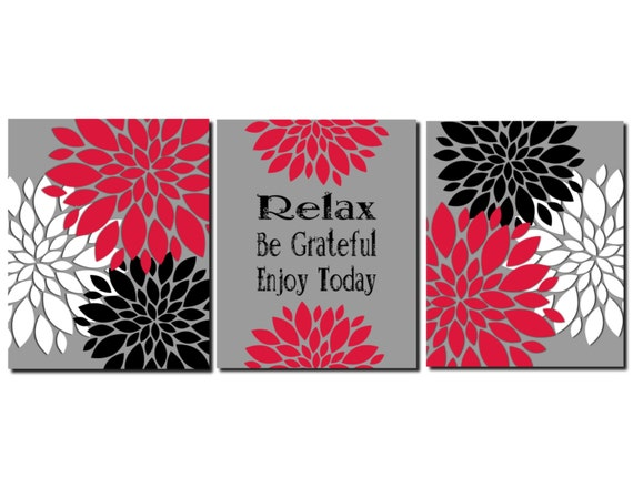Red Black White Gray Wall Art Kitchen Art Bathroom Art Flower
