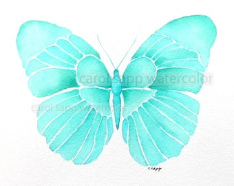 "tiffany blue butterfly giclee print of watercolor original 5"" x 7"""
