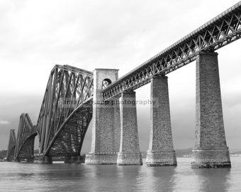 Edinburgh bridge Scotland black and white photo